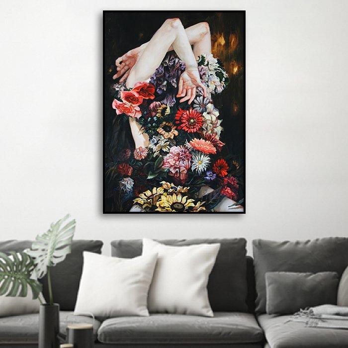 Tranh treo tường cô gái hoa