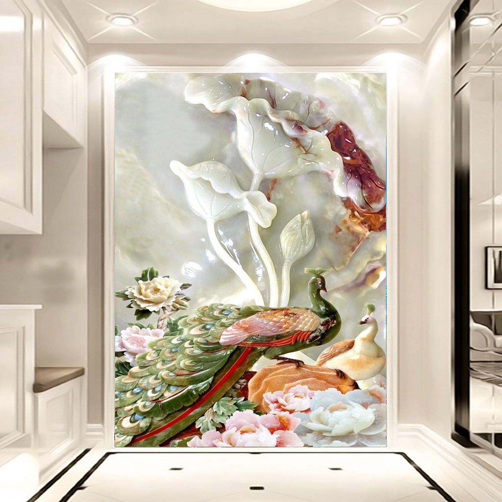 Tranh dán tường đôi công và hoa bằn ngọc 3D