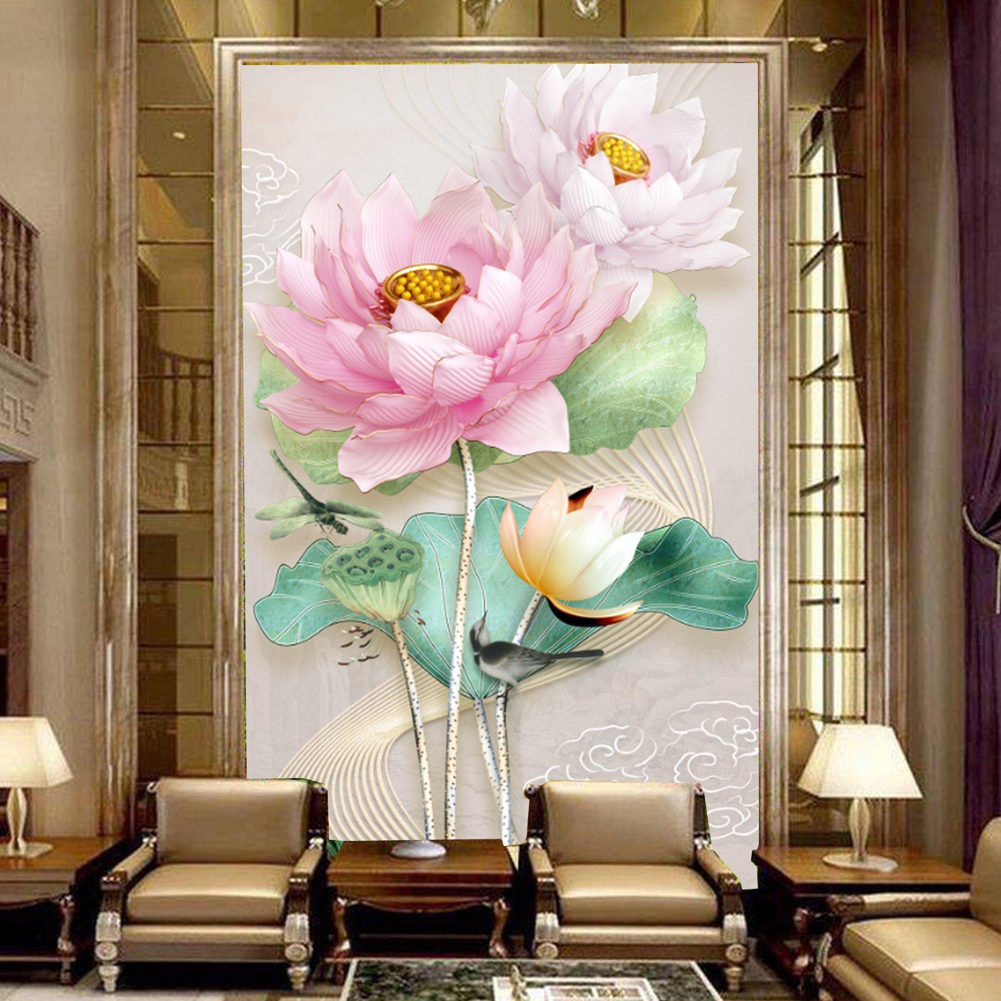 Tranh dán tường sen hồng nhụy vàng 3D