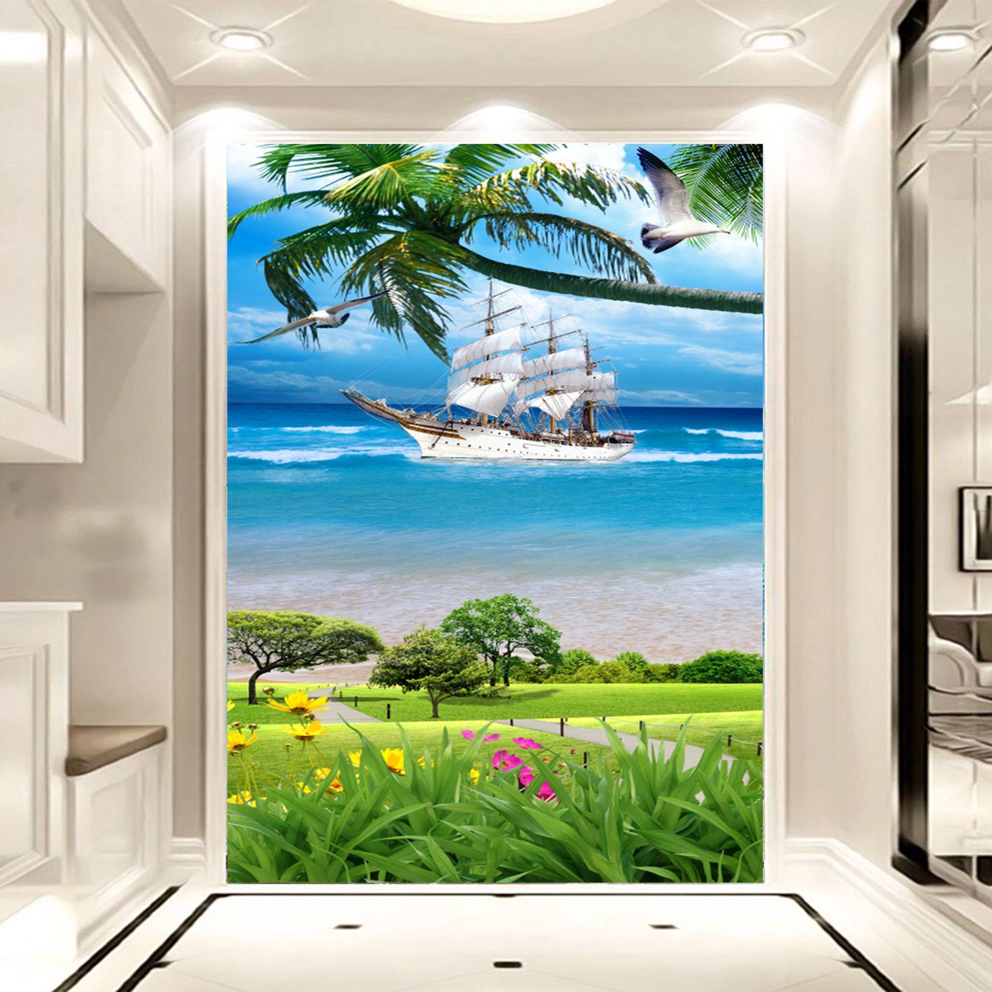 Tranh dán tường bãi biển xanh