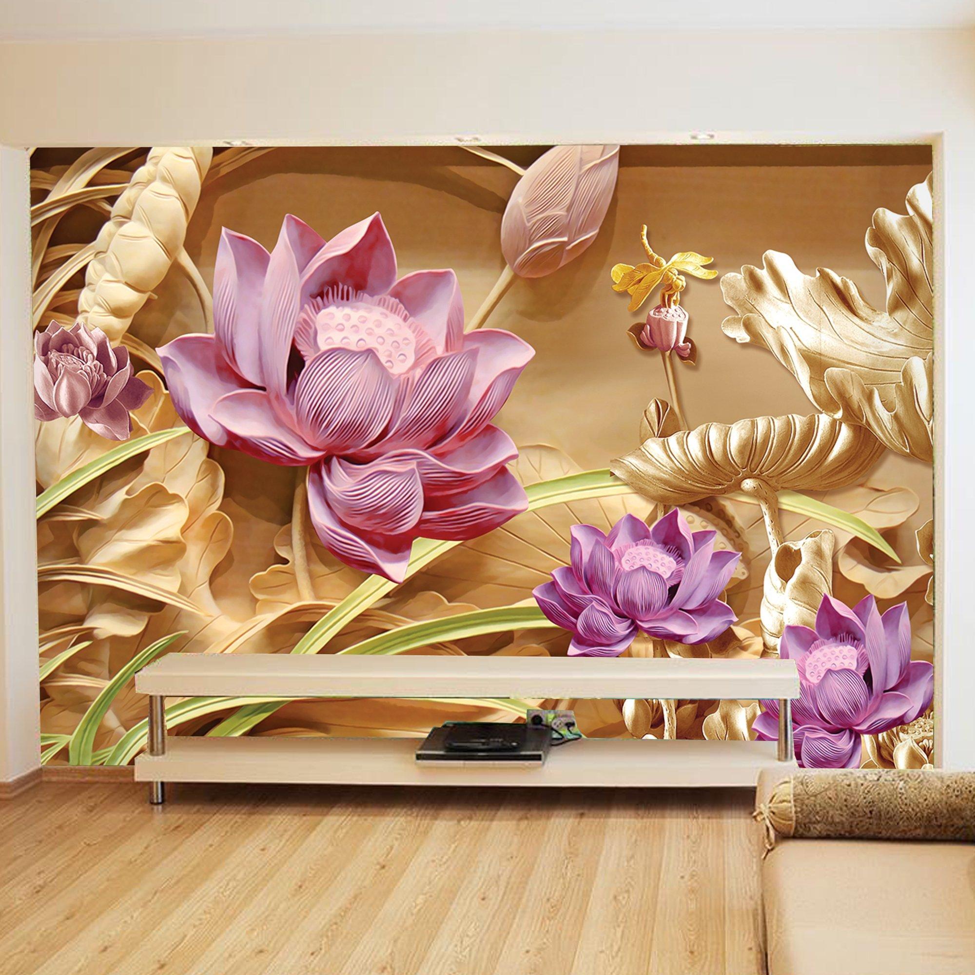 Tranh dán tường hoa sen 3D