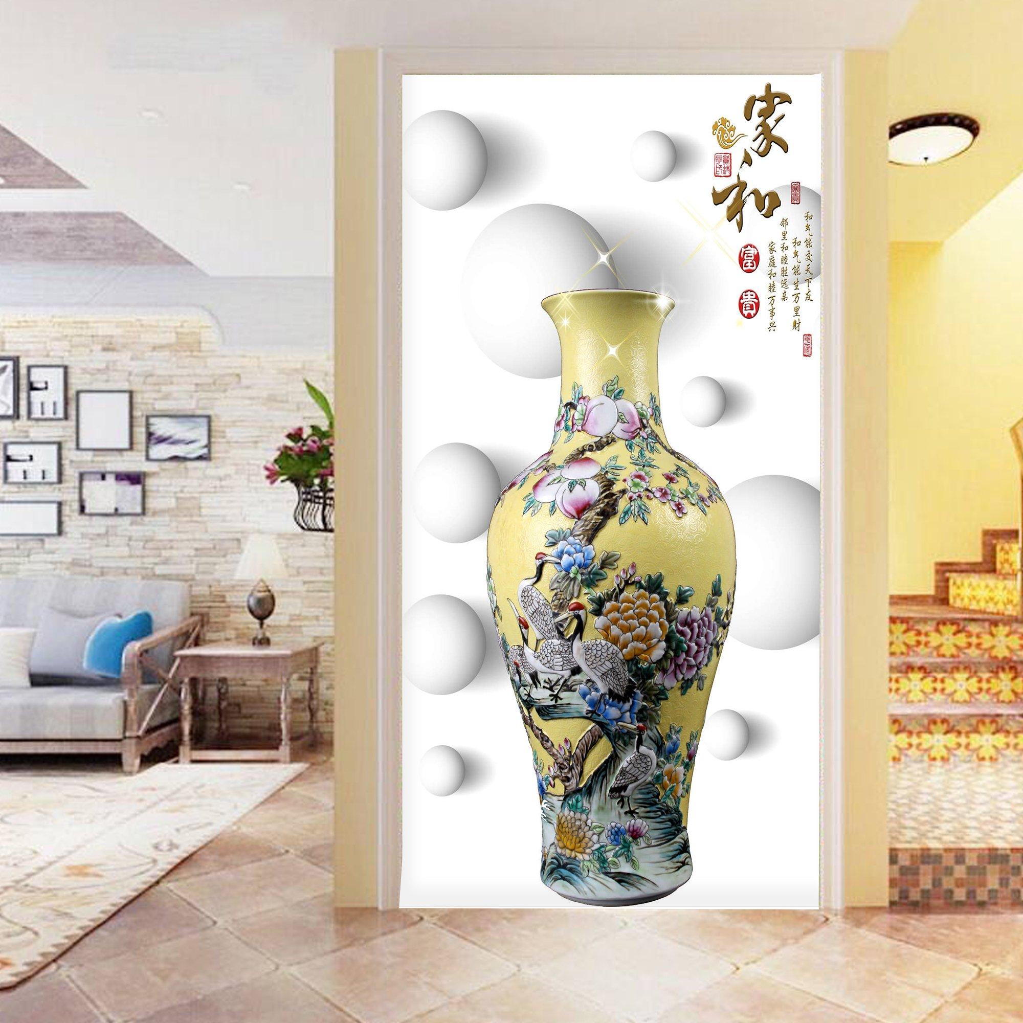 Tranh dán tường lọ hoa 3D