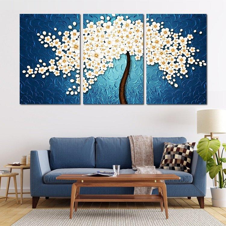 Tranh treo tường hoa trắng nở rộ