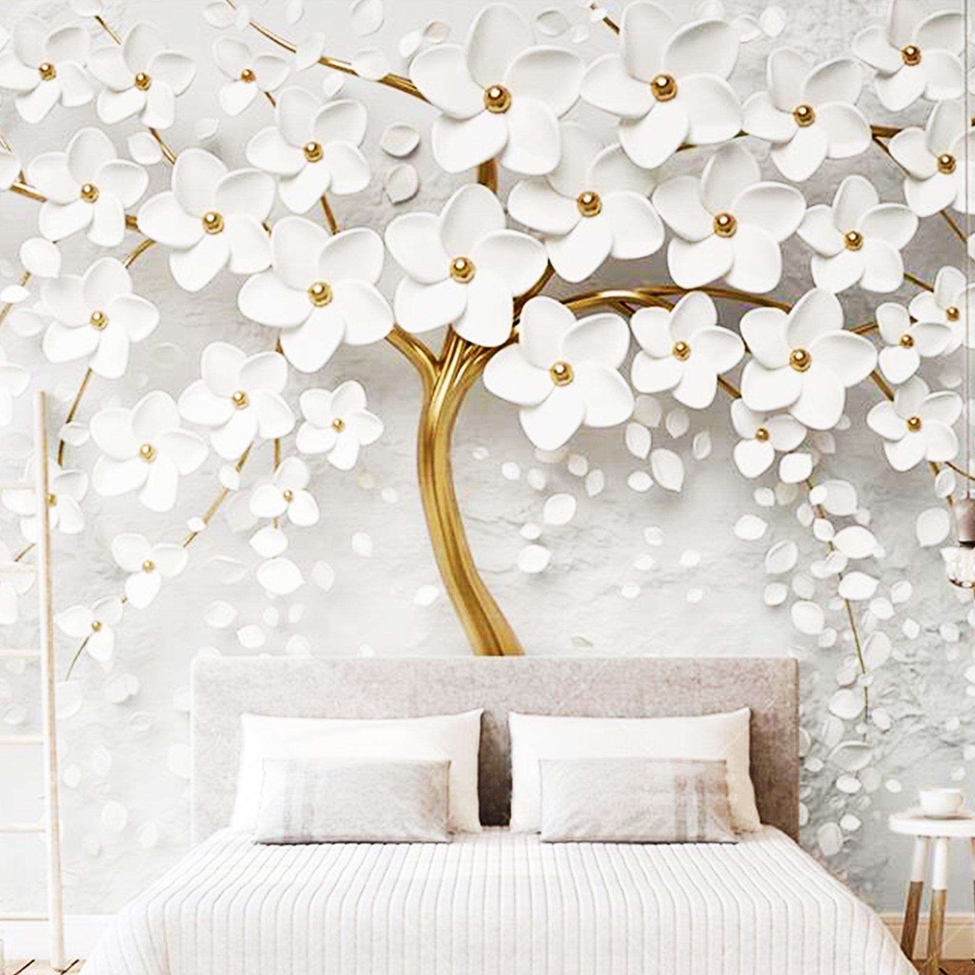 Tranh dán tường hoa trắng nhụy vàng
