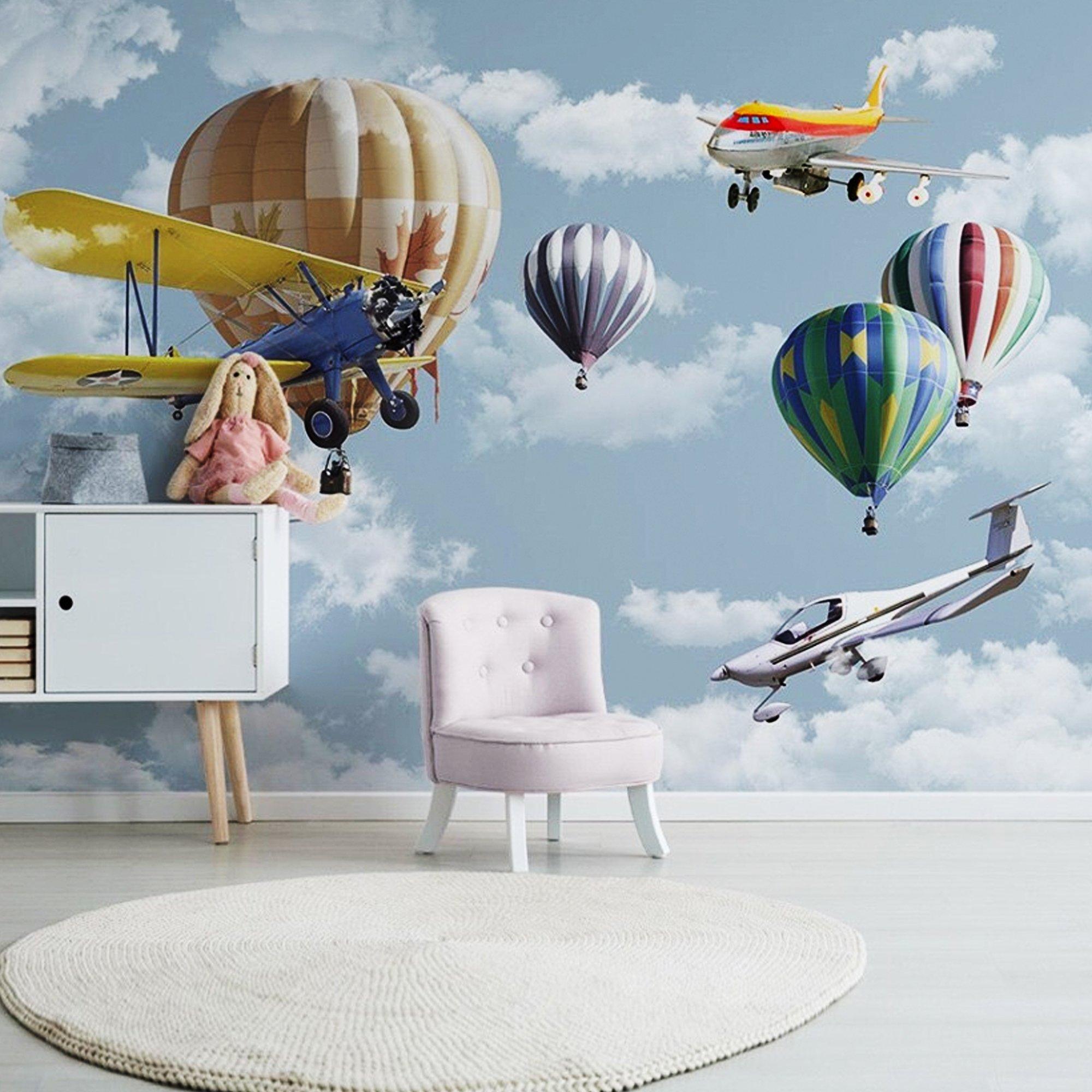 Tranh dán tường máy bay và khinh khí cầu