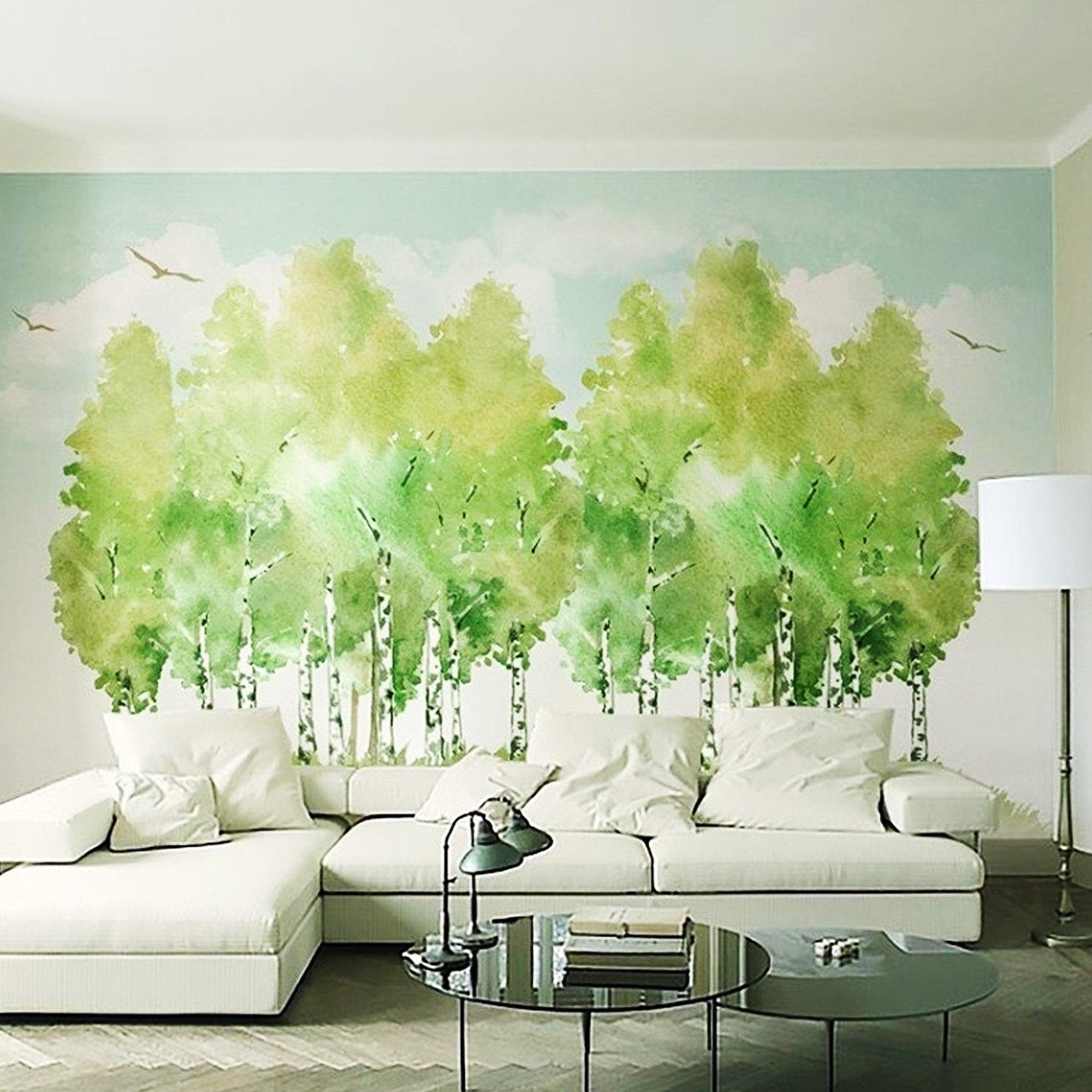 Tranh dán tường rừng xanh 2