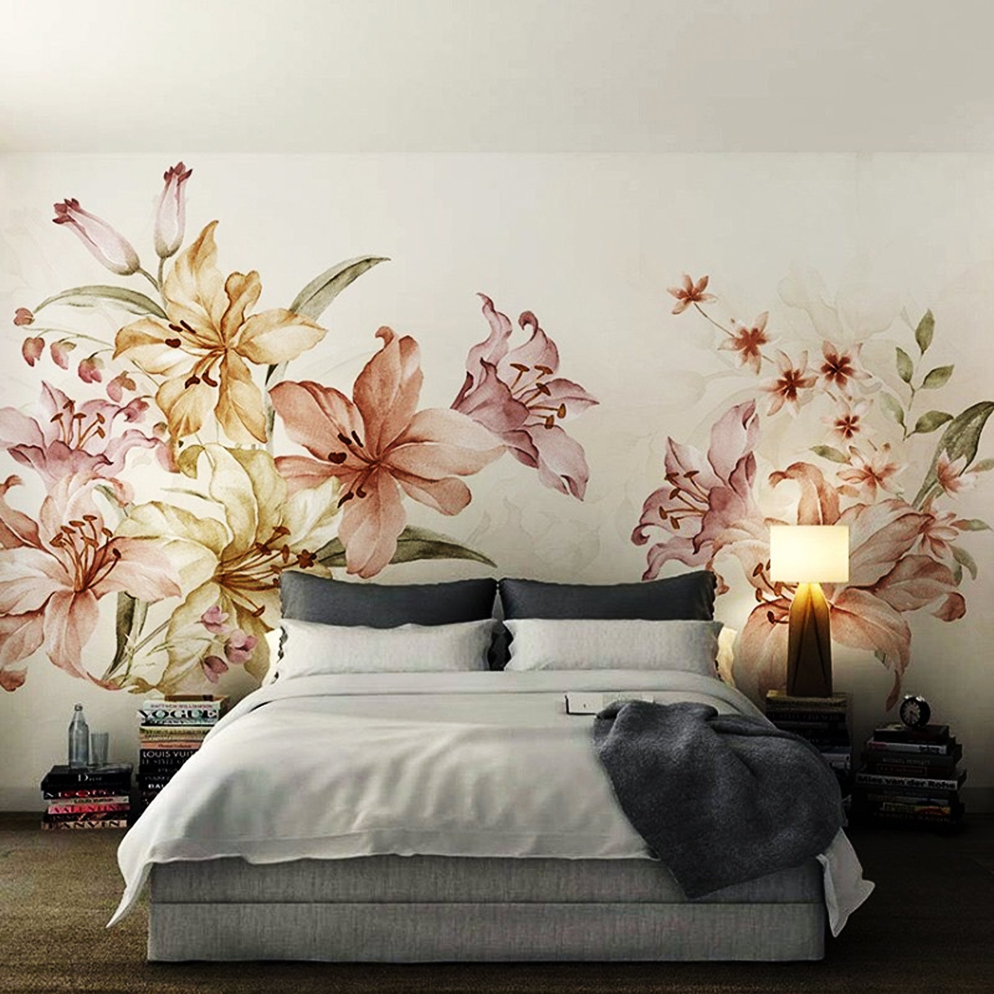 Tranh dán tường sắc màu hoa ly