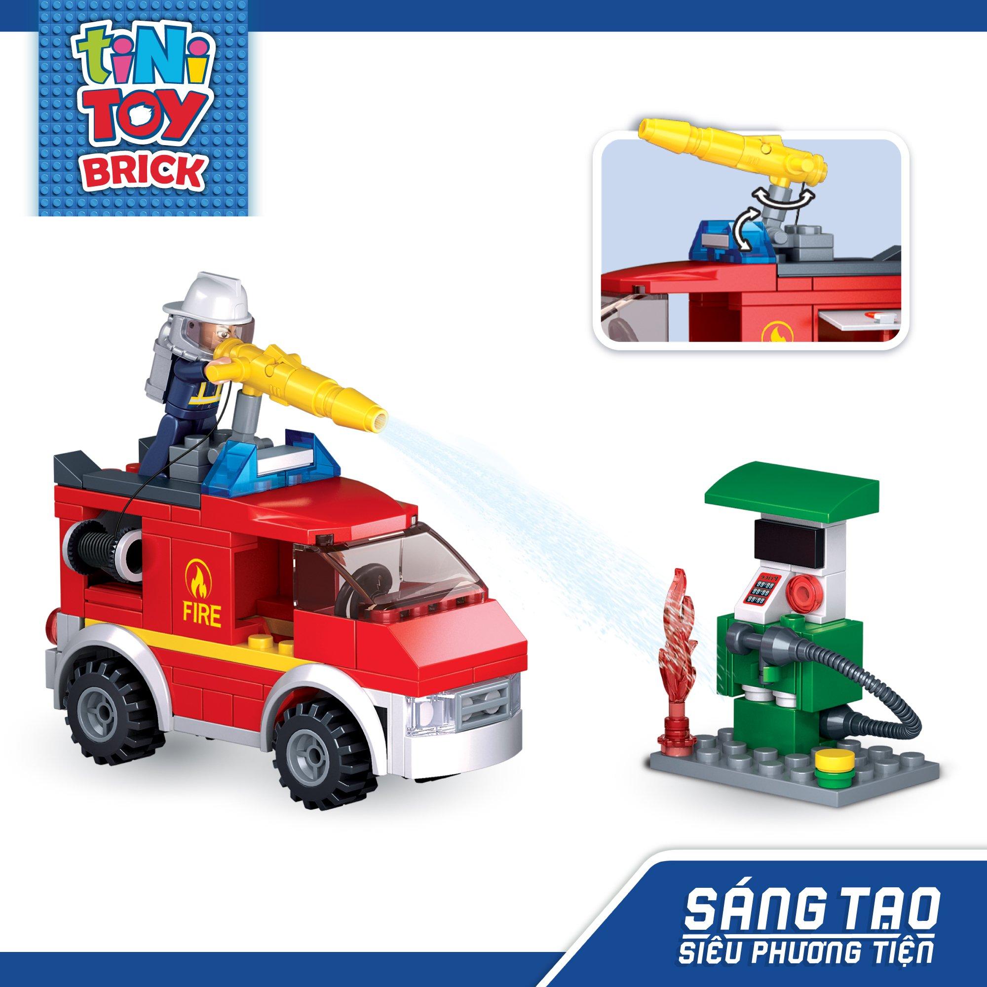 Đồ chơi lắp ráp xe cứu hỏa và trạm xăng TINITOY BRICK (136 pcs)