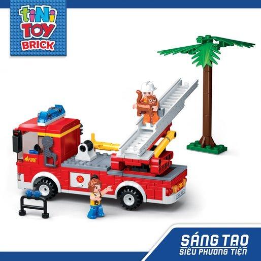 Đồ chơi lắp ráp xe cứu hỏa có thang nâng TINITOY (269 pcs)