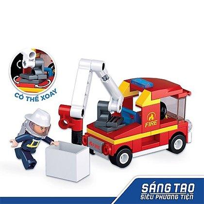 Đồ chơi lắp ráp xe cứu hỏa có thang nâng TINITOY BRICK(82 pcs)