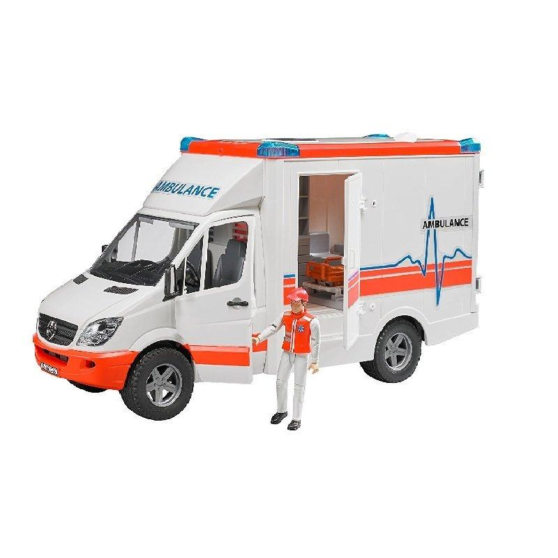 Xe cứu thương Bruder MB với tài xế BRU02536 trắng- Hàng chính hãng MYKINGDOM