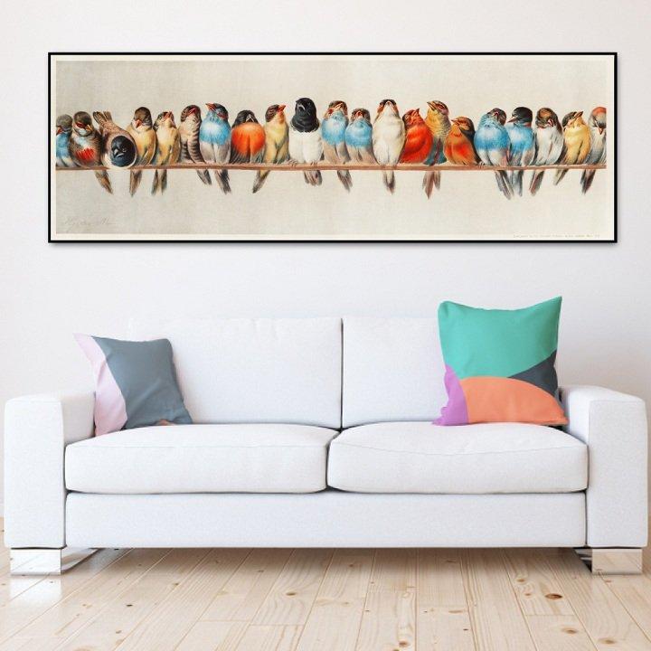 Tranh treo tường đàn chim sắc màu