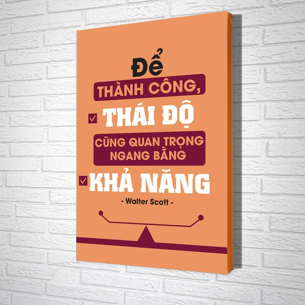 Tranh Slogan Để Thành Công Thái Độ Cũng Quan Trọng Ngang Bằng Khả Năng
