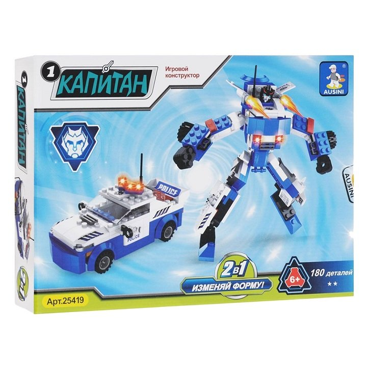 Đồ Chơi Lắp Ráp Ausini - Robot Biến Hình Xe Cảnh Sát AUS 25419 (180 Miếng) (SK)