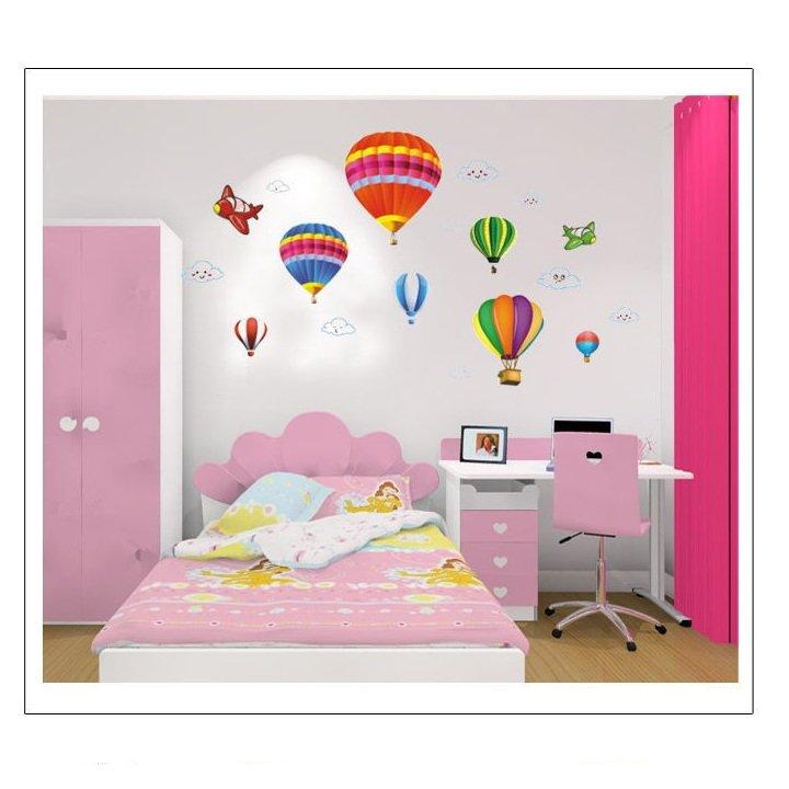 Decal dán tường khinh khí cầu sắc màu 2