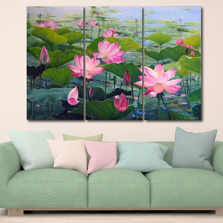 Tranh treo tường hoa sen hồng khoe sắc