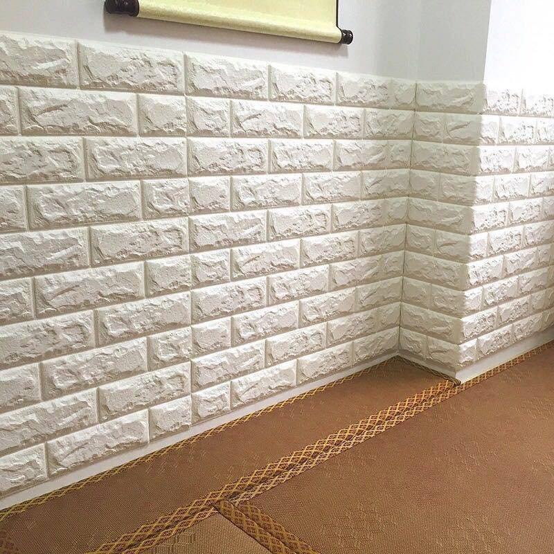 Xốp đá dán tường giá rẻ màu trắng