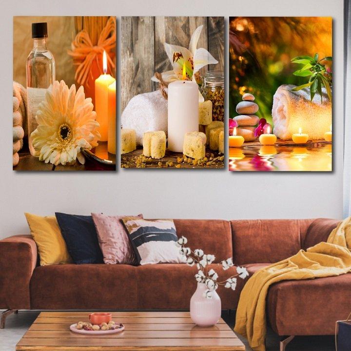 tranh treo tường spa massage nến thơm