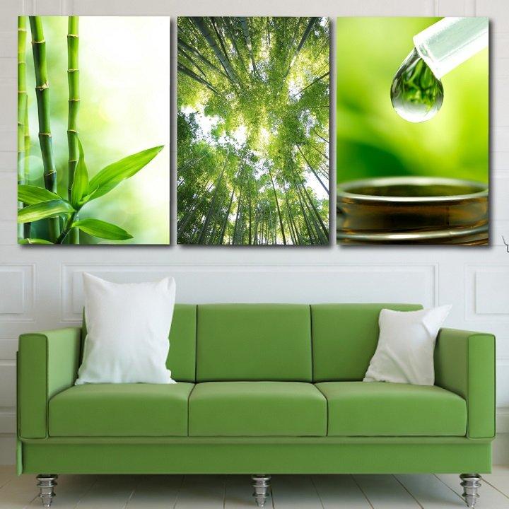 tranh treo tường spa rừng tre xanh