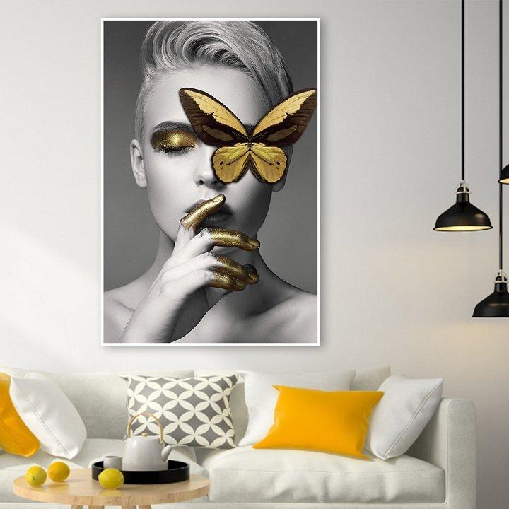 Tranh treo tường cô gái và bướm vàng
