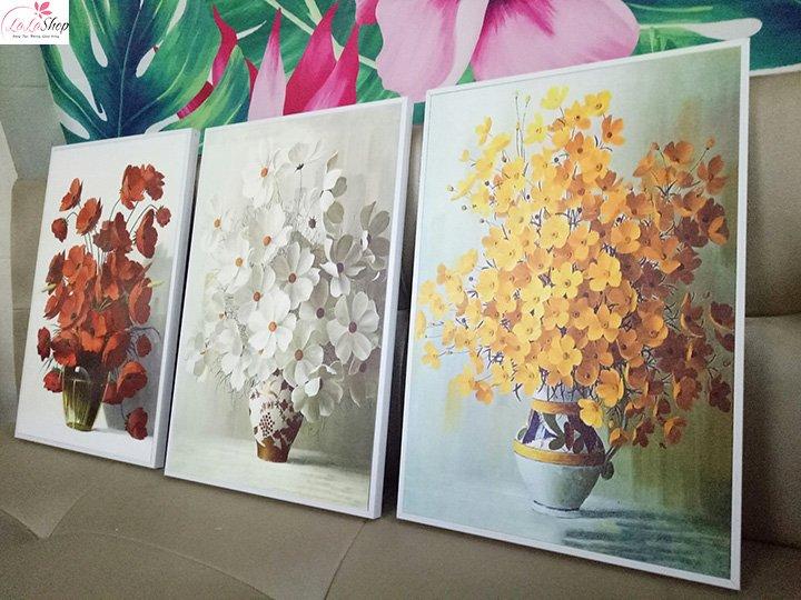 Tranh Treo Tường 3D Bộ 3 Bình Hoa Nghệ Thuật (HG)
