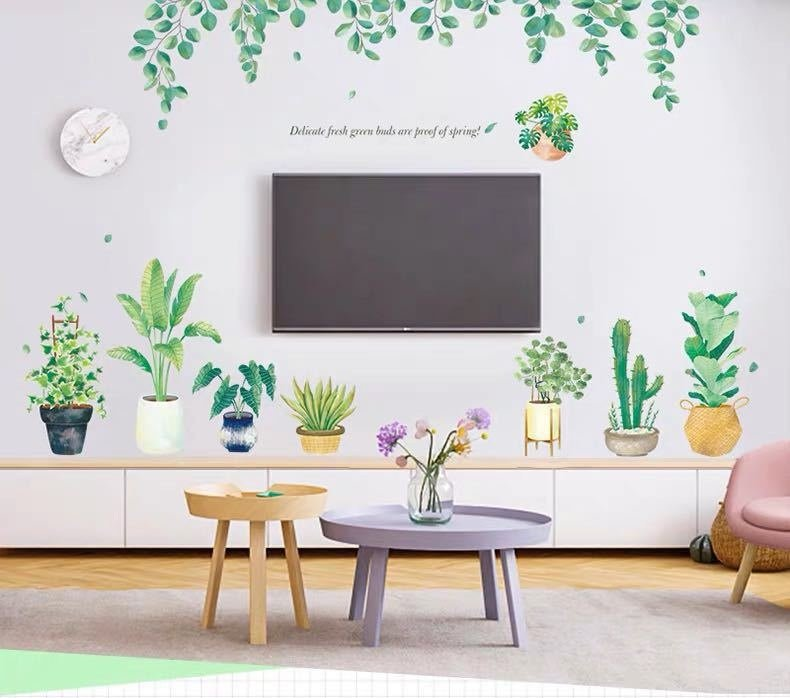 Decal dán tường các chậu cây và giàn lá xanh