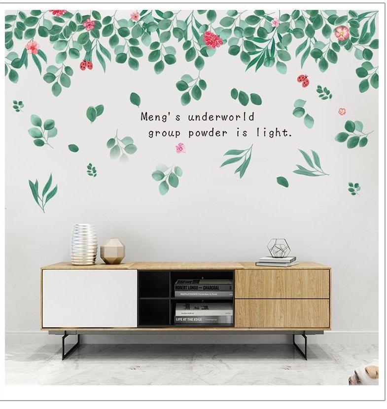Decal dán tường giàn lá xanh