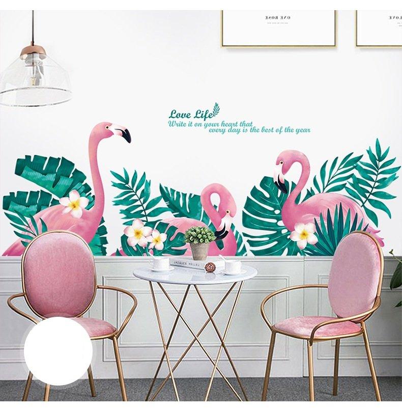 Decal dán tường hồng hạc và lá xanh