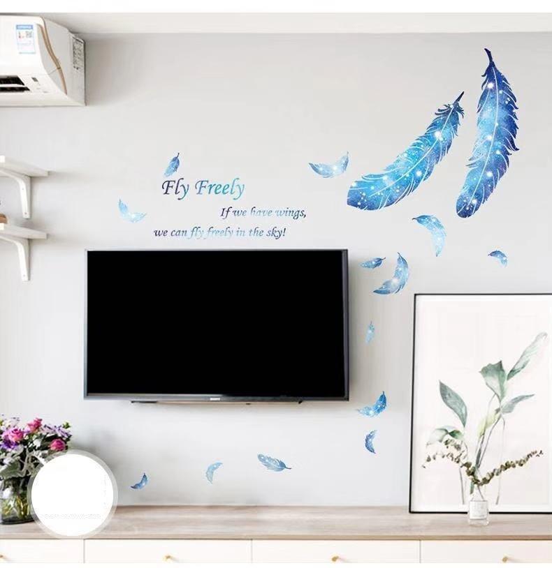 Decal dán tường lông vũ xanh