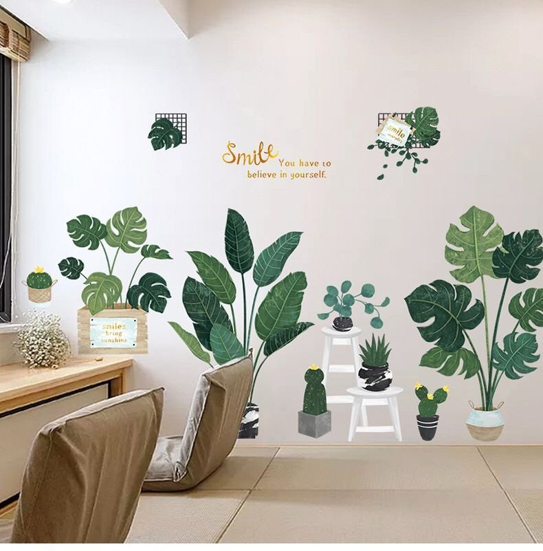 Decal dán tường chậu cây xanh lá to
