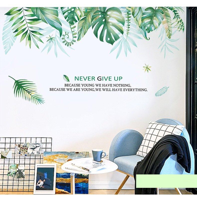 Decal dán tường giàn cây xanh lá to 2