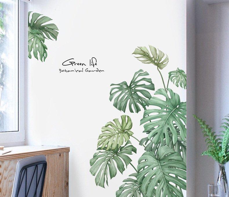 Decal dán tường lá xanh nhiệt đới