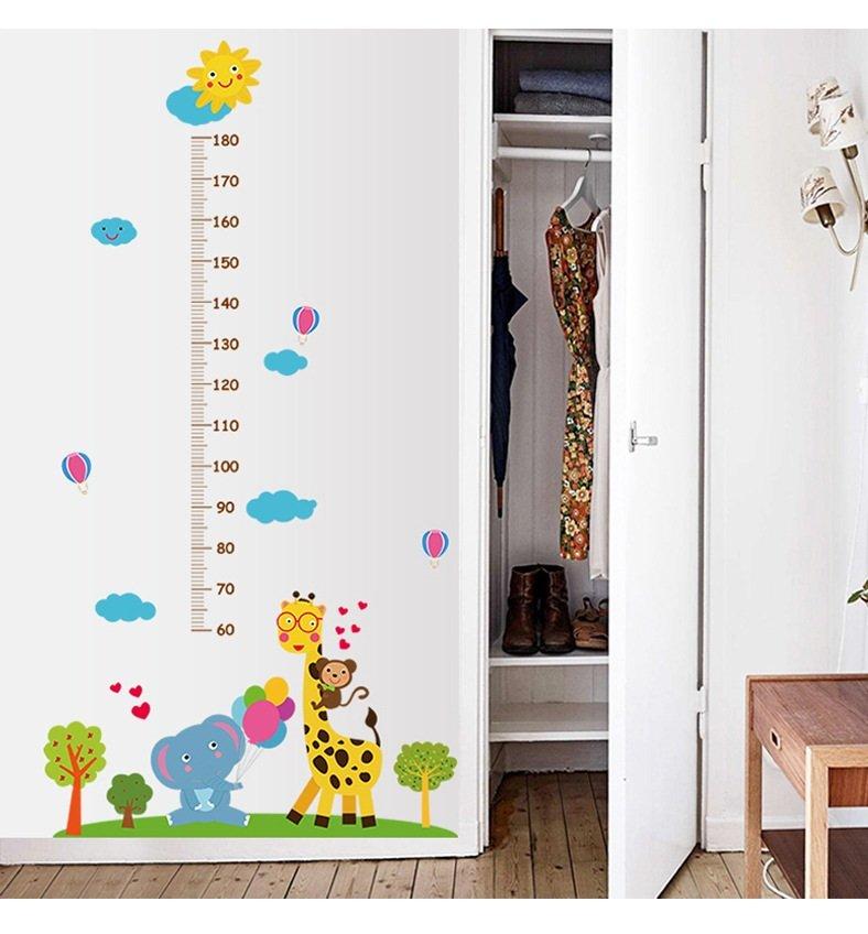 Decal dán tường thước đo chiều cao khu vườn động vật