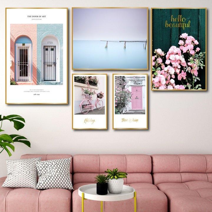 Tranh treo tường màu hồng bình yên