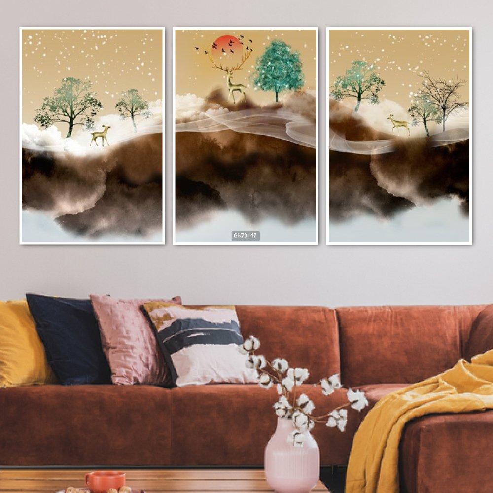 Tranh Canvas Treo Tường Hươu Nghệ Thuật 3