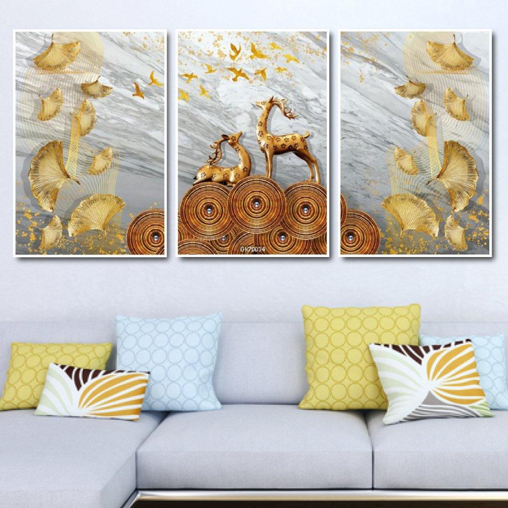 Tranh Canvas Treo Tường Hươu Hoa Tài Lộc