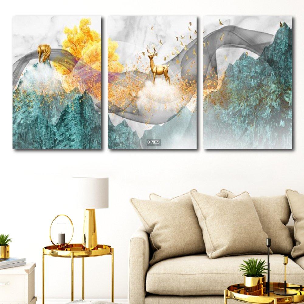 Tranh Canvas Treo Tường Hươu Vàng Vượt Ngân Hà
