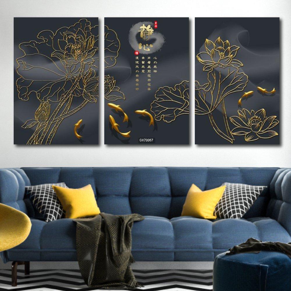 Tranh Canvas Treo Tường Sen Và Cá Chép Vàng