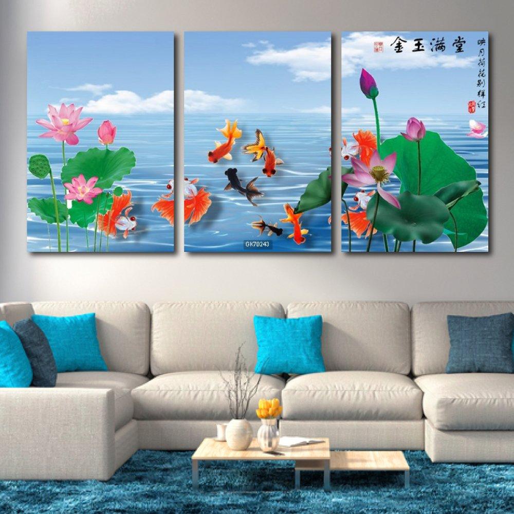 Tranh Canvas Treo Tường Cửu Ngư Quần Hội