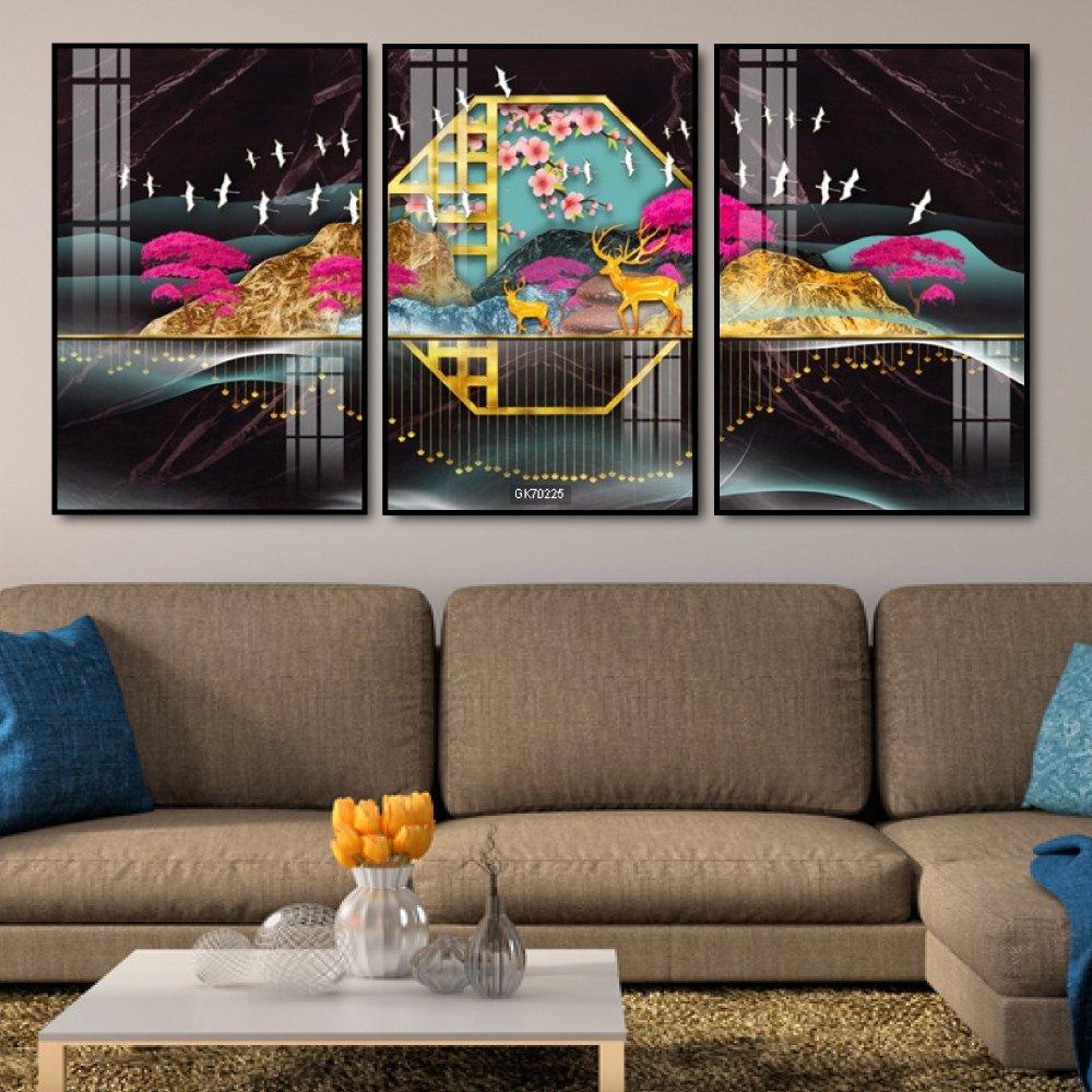 Tranh Canvas Treo Tường Đôi Hươu Nghệ Thuật 3
