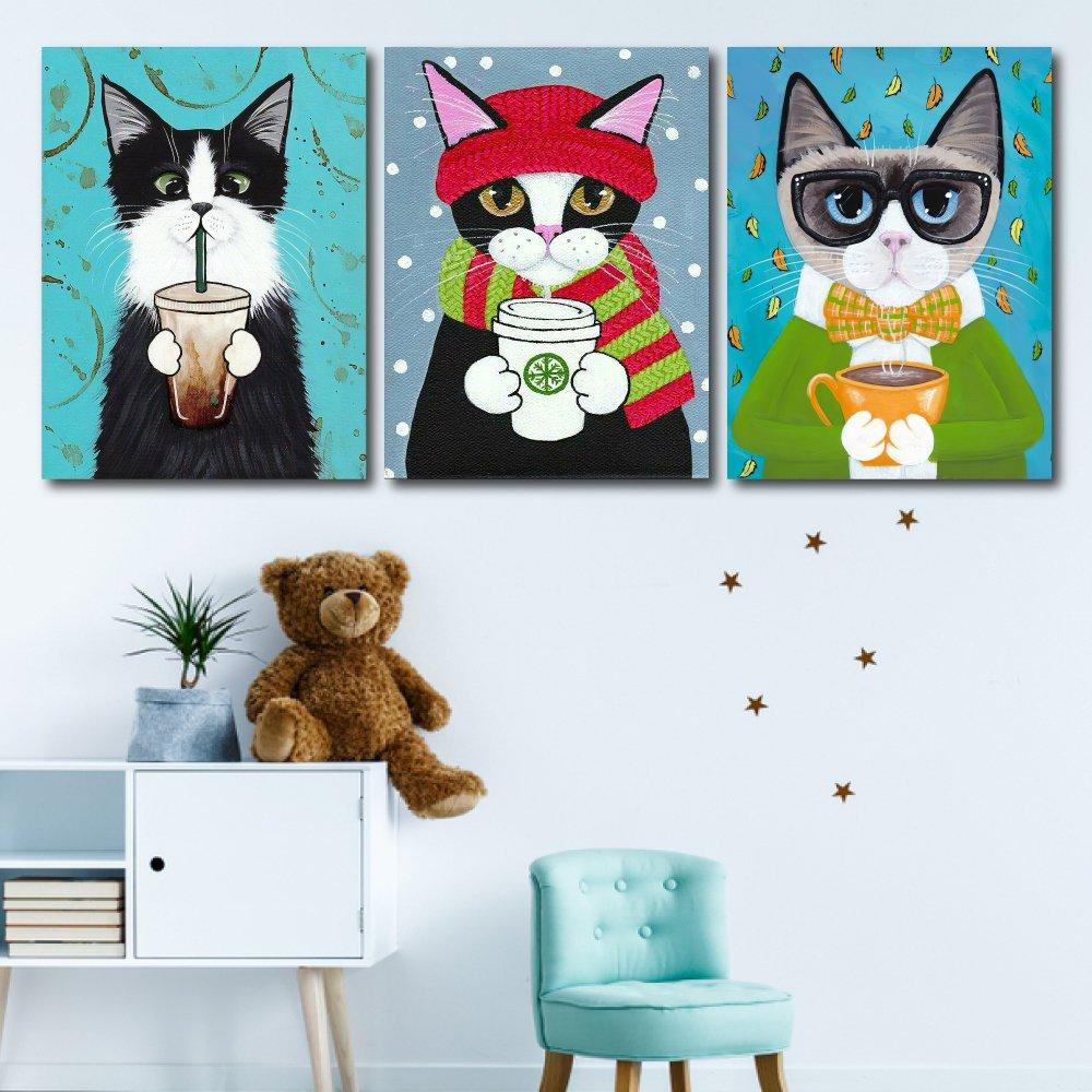 Tranh treo tường ba chú mèo mùa đông