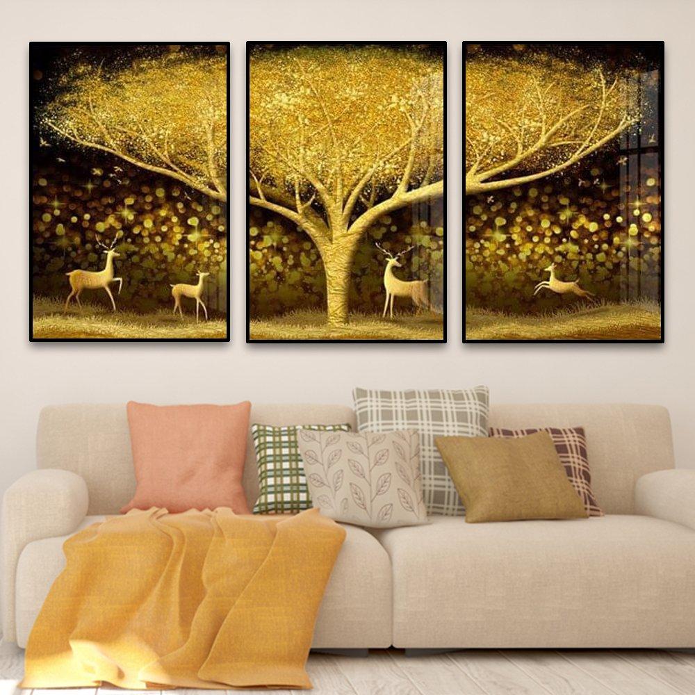 tranh treo tường nai vàng và cây vàng lộng lẫy