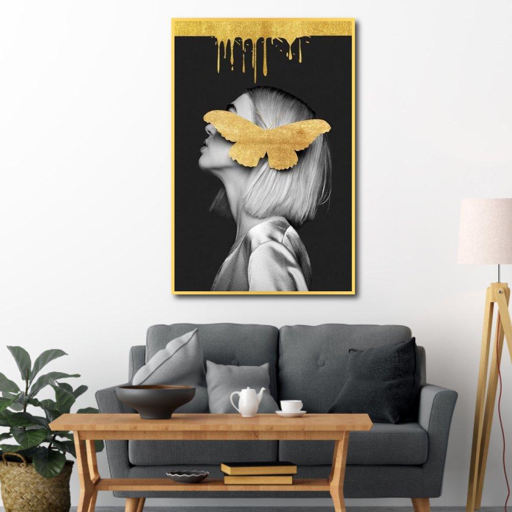 Tranh treo tường cô gái và bướm vàng 2
