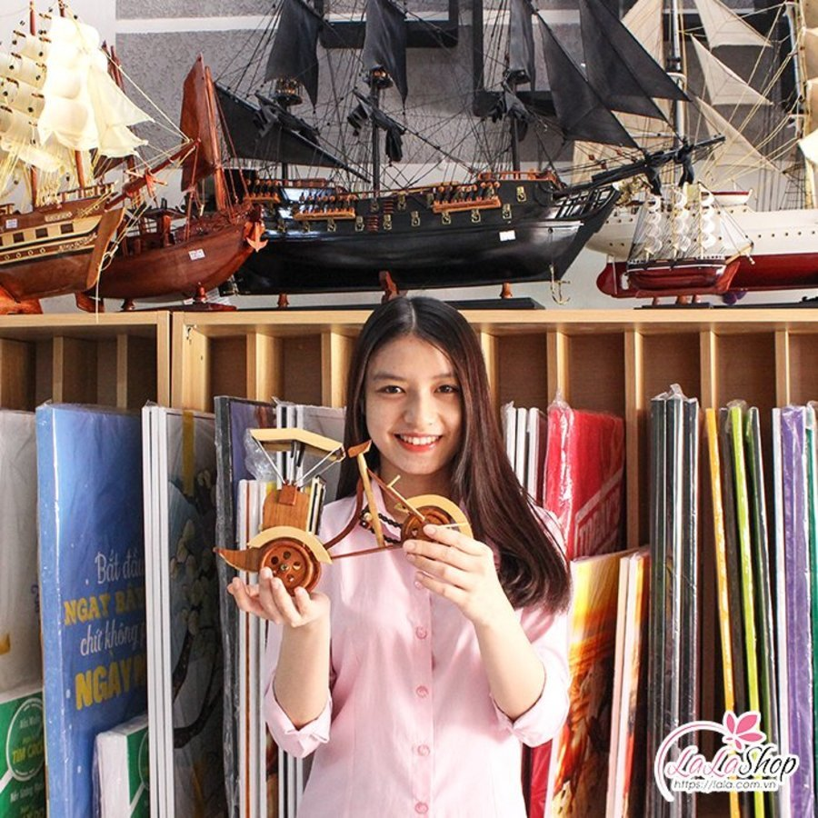 Xích lô gỗ mỹ nghệ lớn kích thước 28x17x9cm