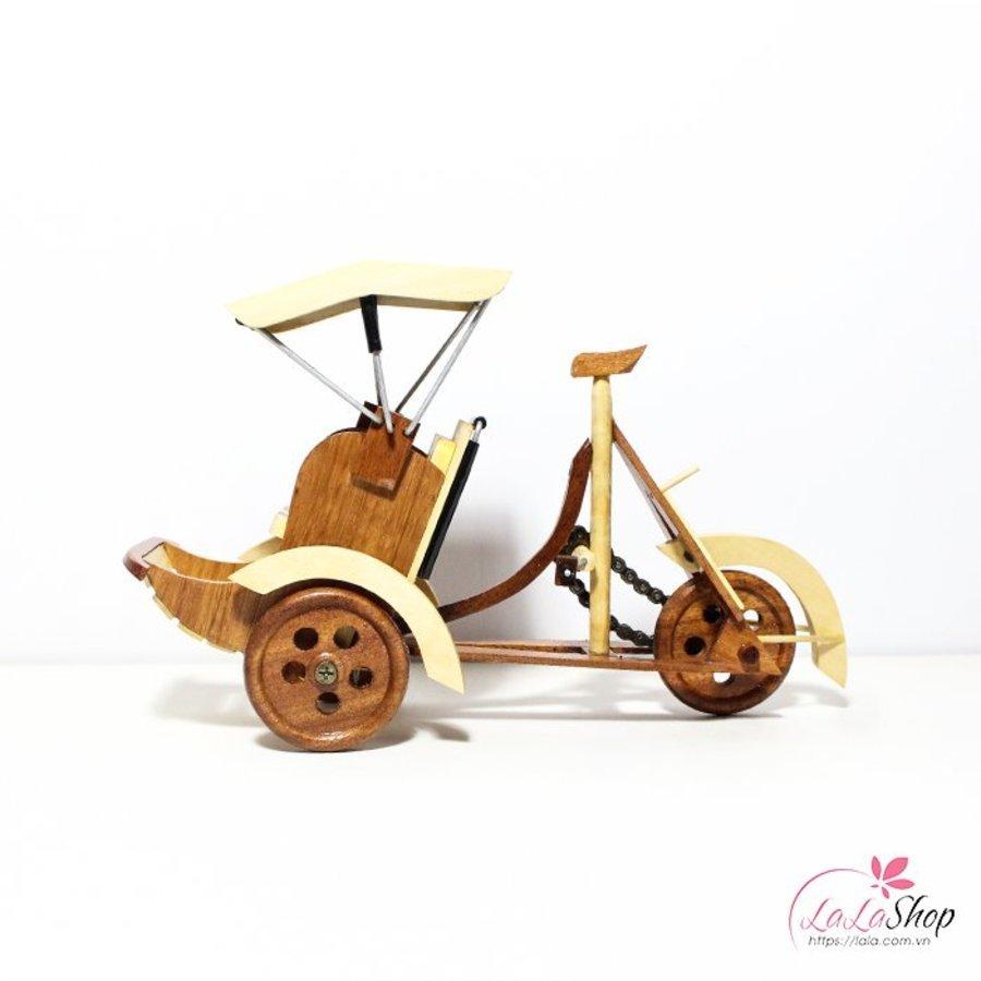 Xích lô gỗ mỹ nghệ nhỏ kích thước 24x15x8cm