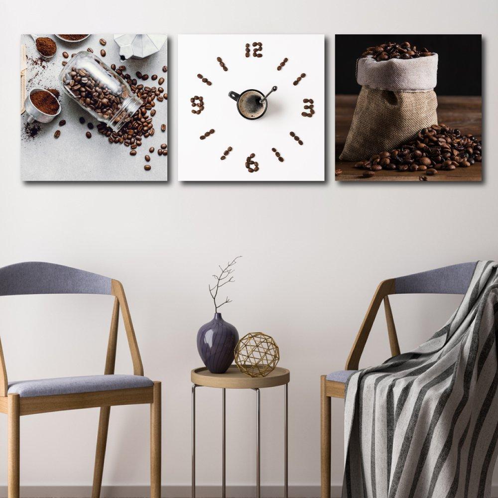 Tranh treo tường cà phê và đồng hồ