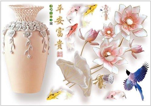 Decal dán tường lọ hoa sứ
