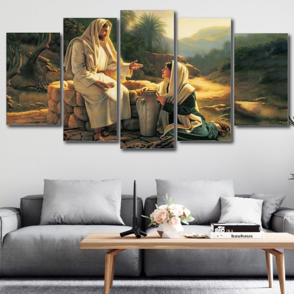 Tranh treo tường chúa giêsu và người phụ nữ samari
