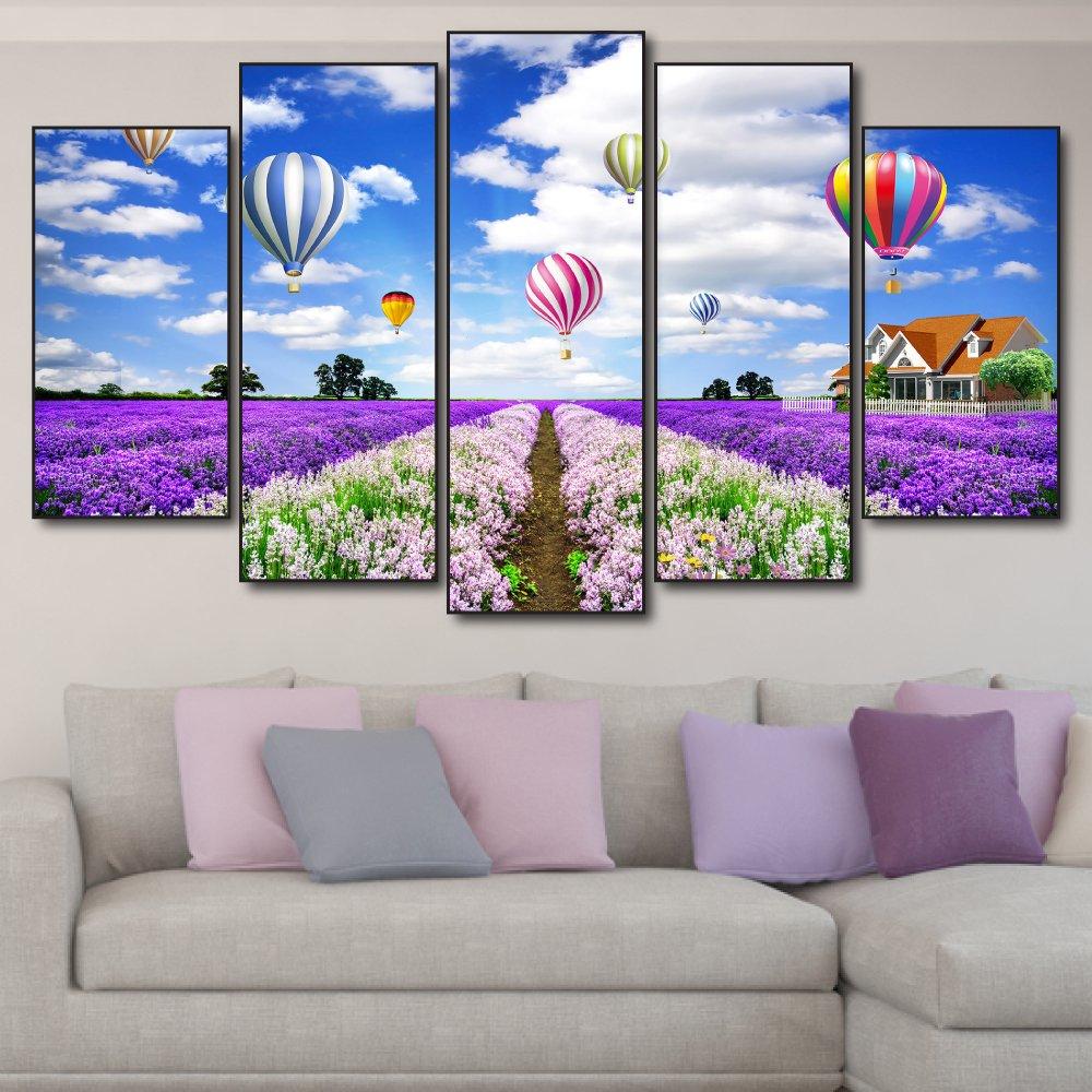 Tranh treo tường đồng hoa tím và khí cầu