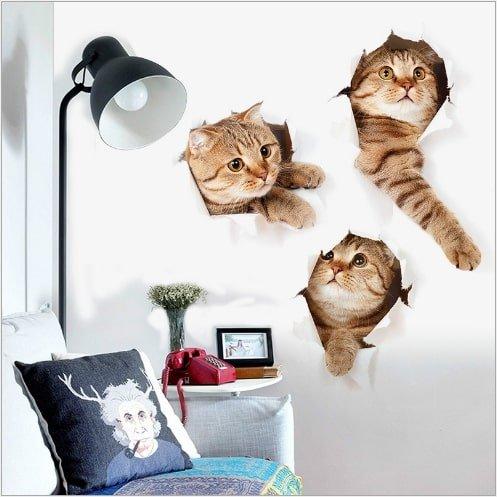 Decal dán tường 3d bé mèo